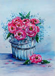 Roses in a bucket