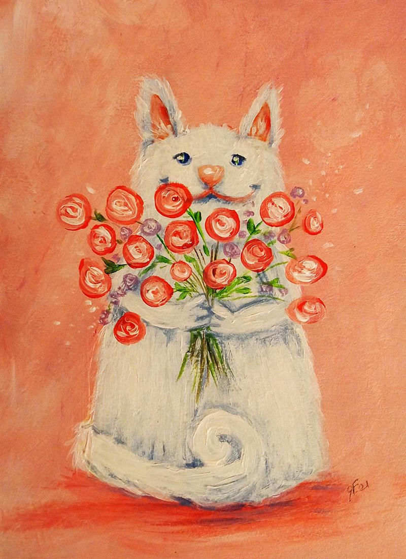 Cute cat with a bouquet of roses