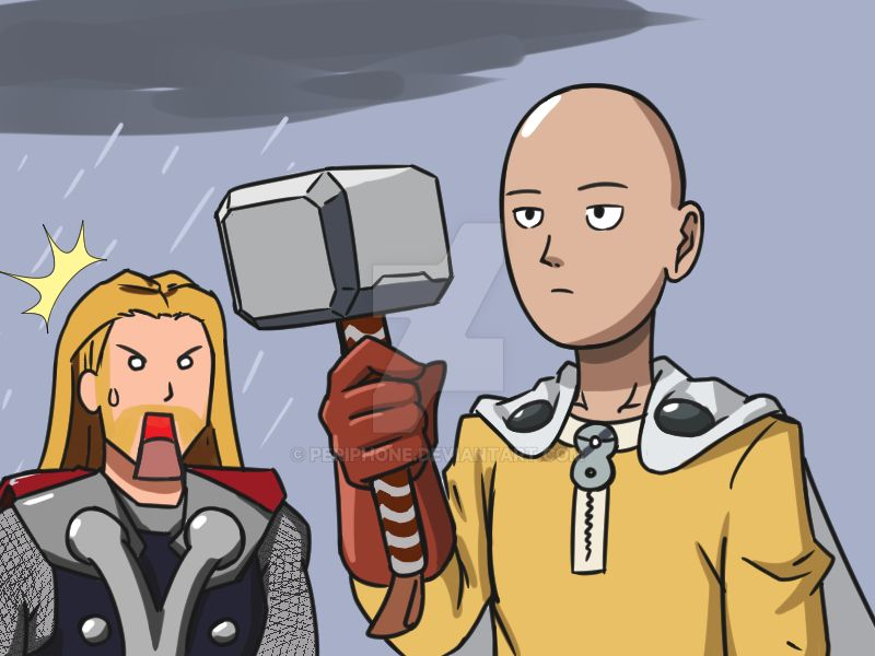 Saitama and uhh thor by periphone on deviantart - Funny one punch man wallpaper ...