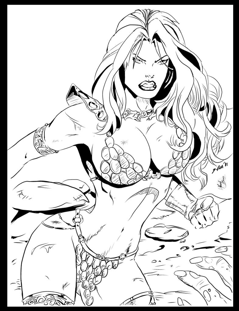 RED SONJA Penciling by Mariah Benes Ink By Me by jbellcomic