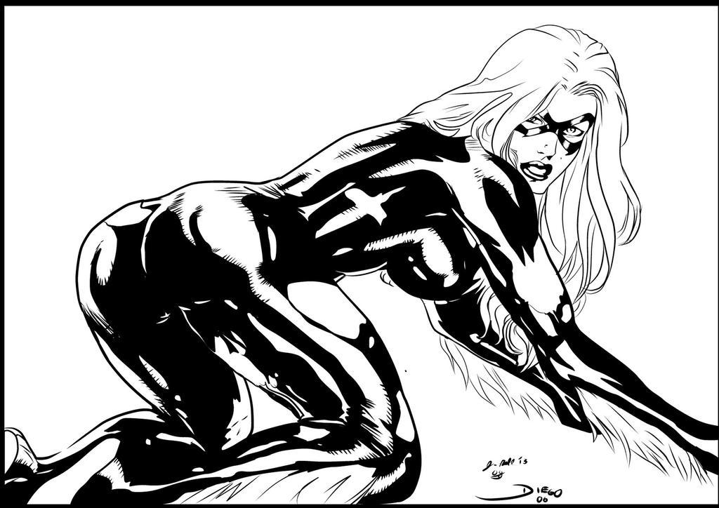 Black Cat Diego ink by me by jbellcomic