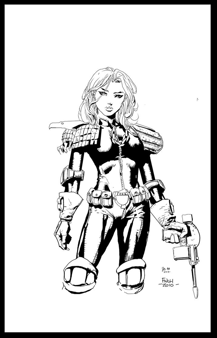Judge Anderson by David Finch inks by me by jbellcomic