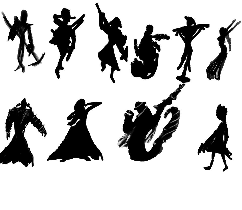 Silhouette / character ideas by jbellcomic