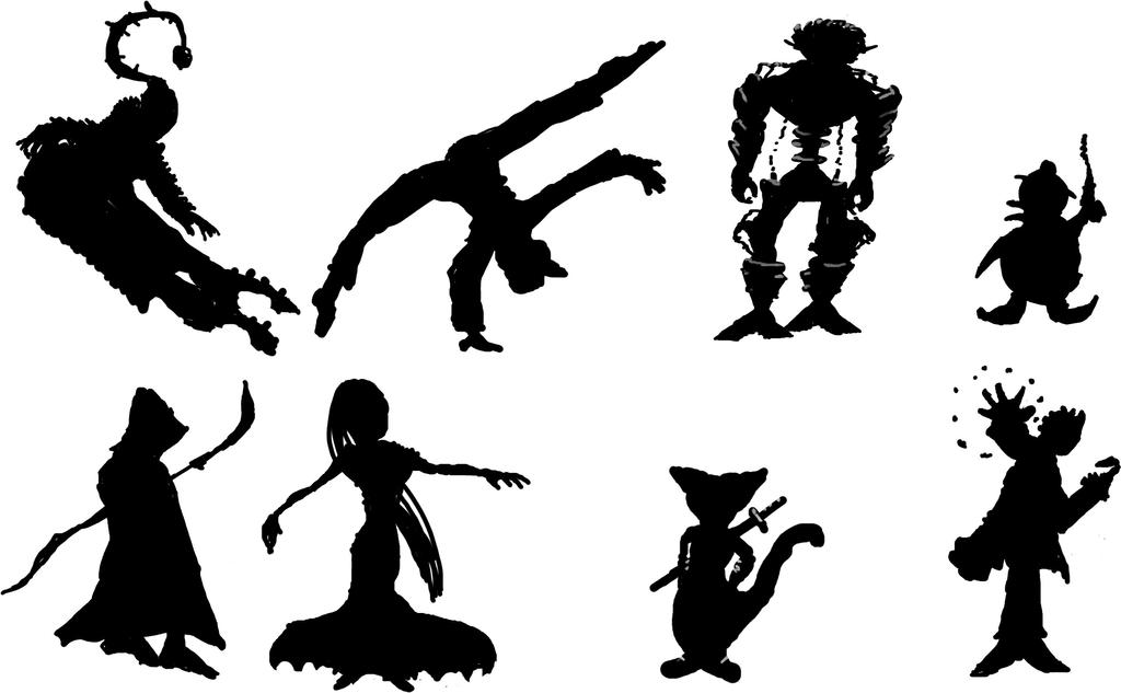 Silhouette / character ideas 2 by jbellcomic
