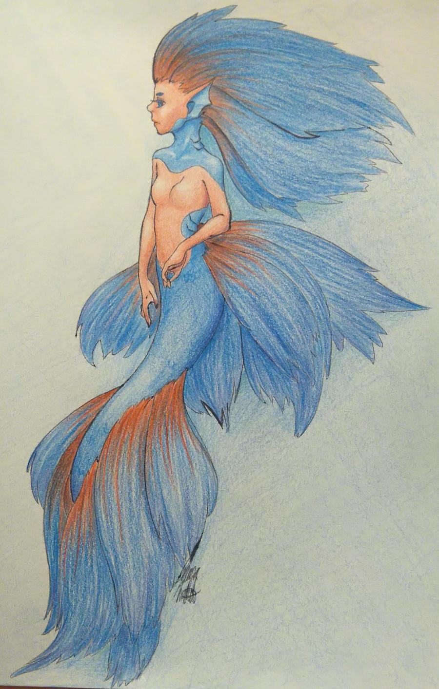 Betta fish mermaid by jenna-aw