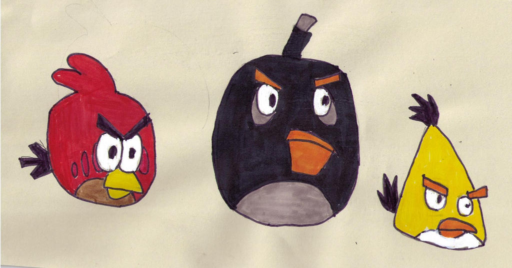 The Three Main Angry Birds by FireshockerBill