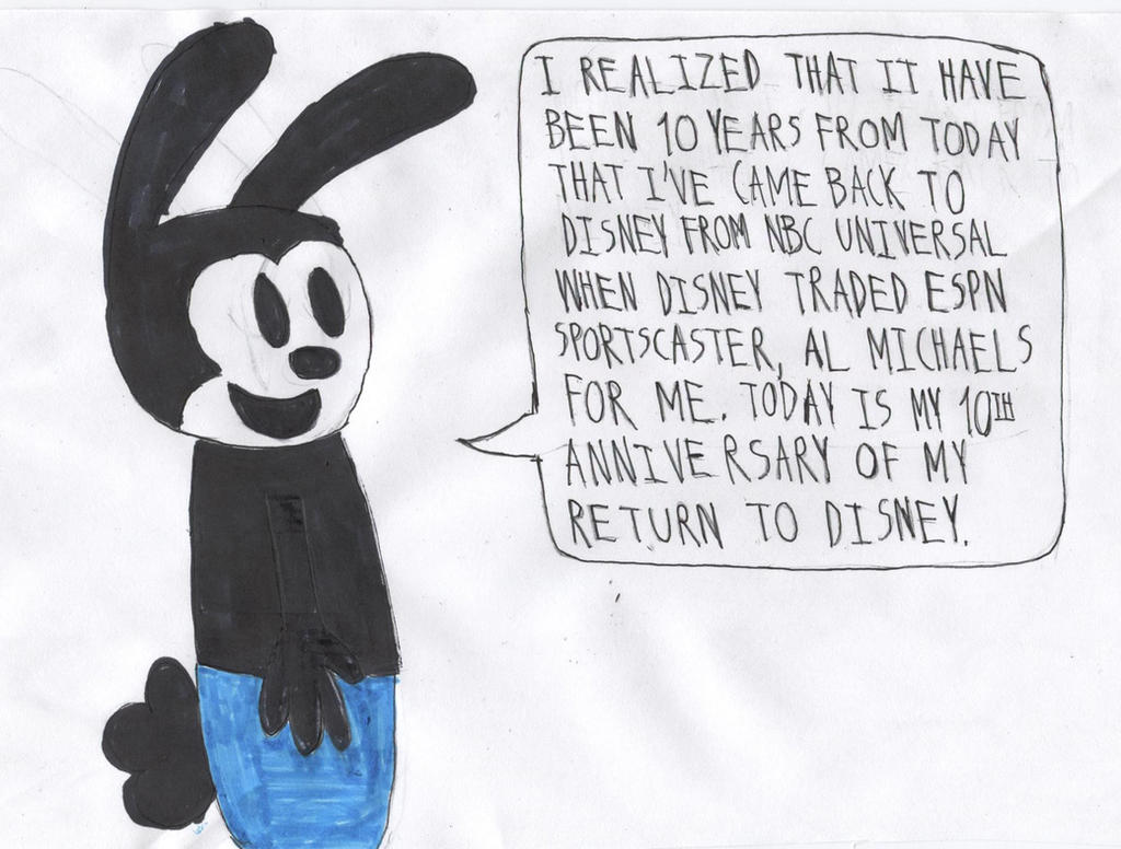 Oswald's 10th Anniversary Of His Return To Disney by HazardStormStrike