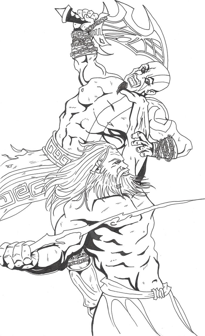 kratos vs zeus by asura06 on deviantart