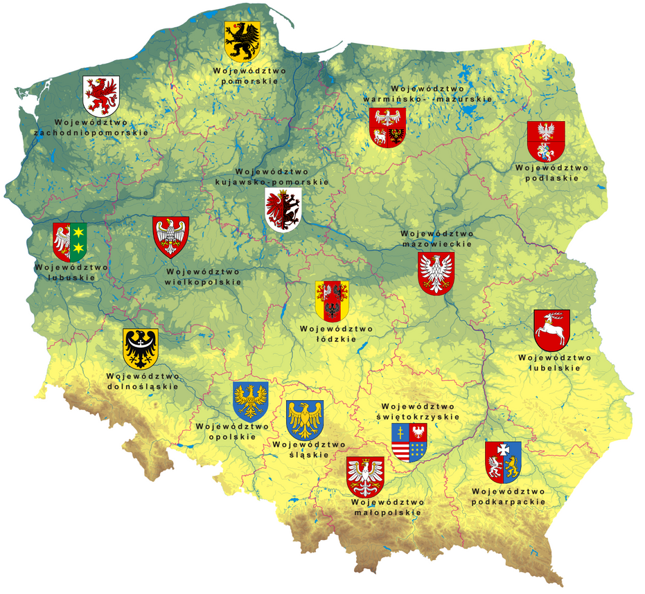 Poland physical map with administrative divisions by Samogost on
