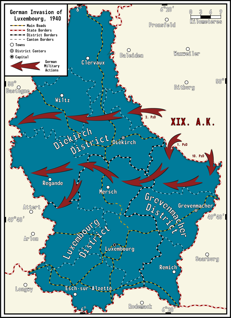 Map of the German Invasion of Luxembourg by captainmori on DeviantArt