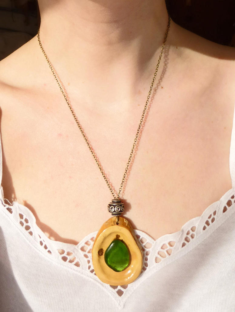 Green sea glass tear drop wooden pendant necklace by for How to make a wooden pendant