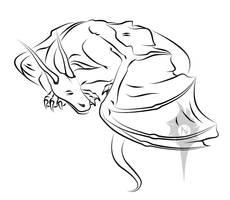 Sleeping dragon lineart