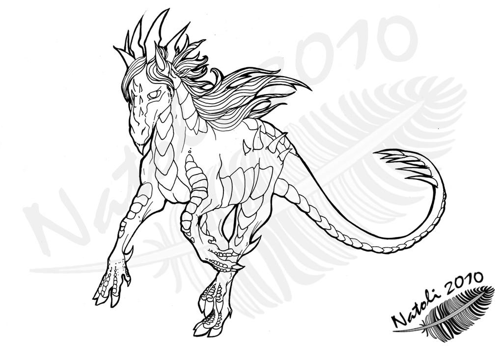 Nightmare horse art nightmare horse lineart by