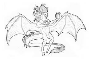 Christmas Dragon Free Lineart