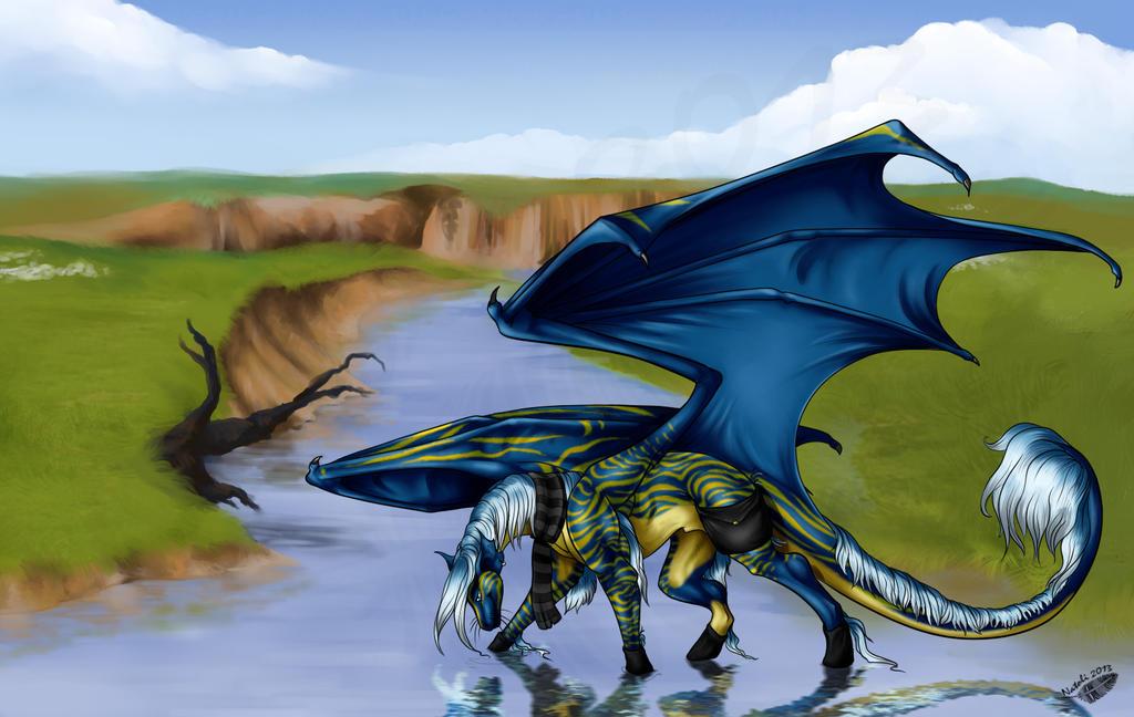 Pasture, river and dragon by Natoli