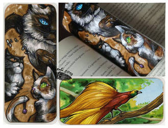 Cats and Birds Bookmark by Natoli