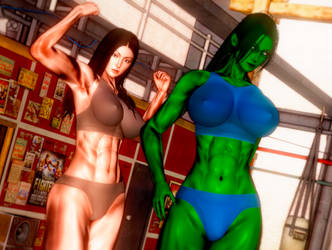 Bushido/Marvel - Sun-Hi and She-Hulk by DOOM4Rus