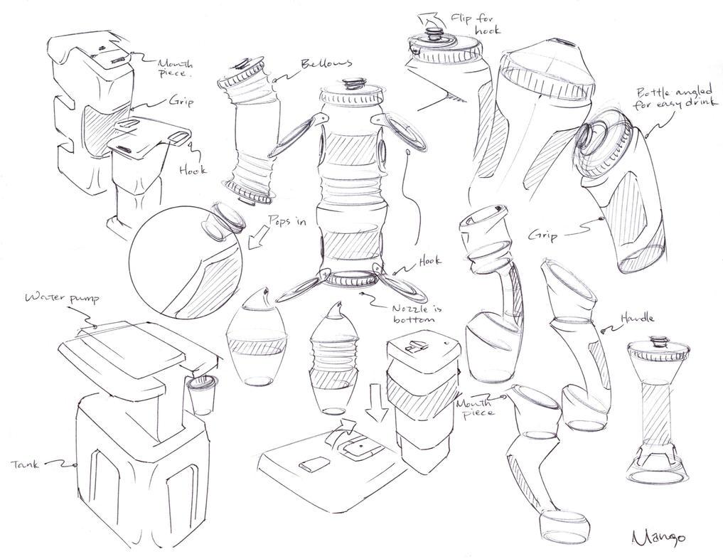 water bottle ideation sketches by c maeng on deviantart. Black Bedroom Furniture Sets. Home Design Ideas