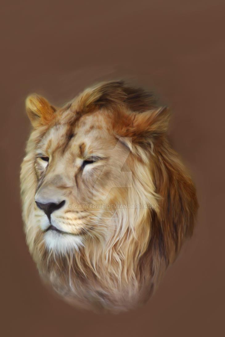 Painting Lion Portrait by gatterwe