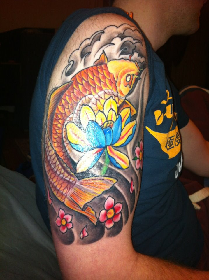 Japanese koi and flower tattoo by joe2you on deviantart for Japan tattoo koi