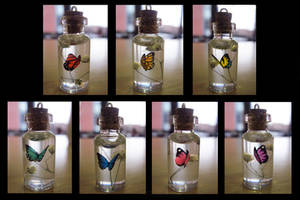 Rainbow Butterfly Bottle Charm Necklaces by Blazesnbreezes