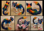 Rainbow Treasure Dragon Kitten Art Doll