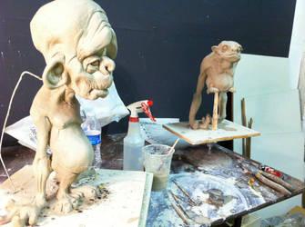 No Longer Curious George + Hubert WIP by SculptorSteve