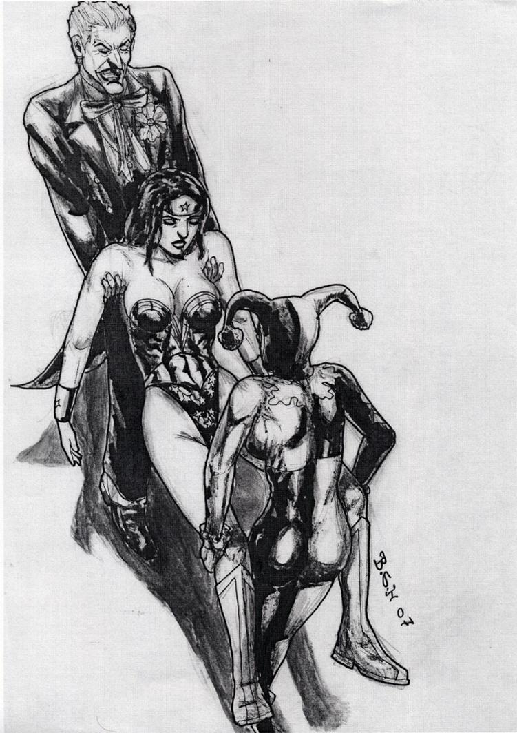 Wonder Woman Defeated Deviantart Harley-joker ko wonder woman 4 by gytalf2000