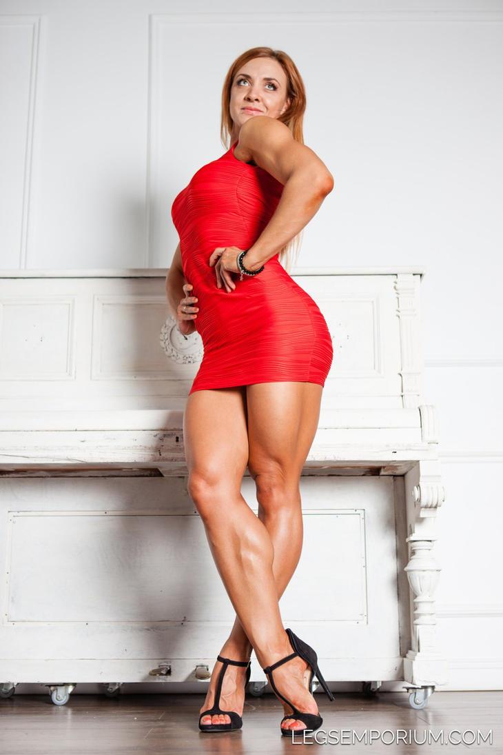 female muscular legs in a skirt