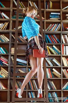 Long Beautiful Legged Librarian Cheerleader - LE