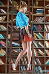 Long Beautiful Legged Librarian Cheerleader - LE