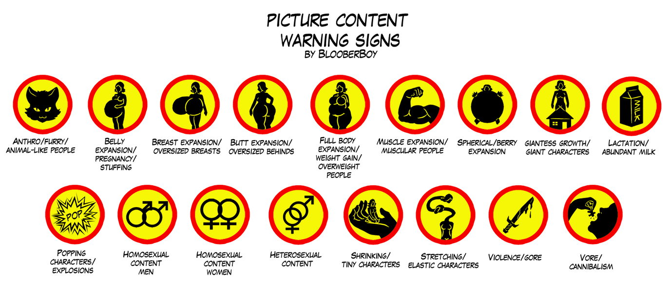 Picture content warning signs by BlooberBoy