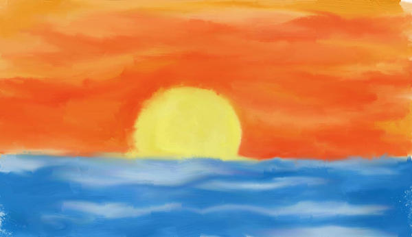 how to draw an ocean sunset