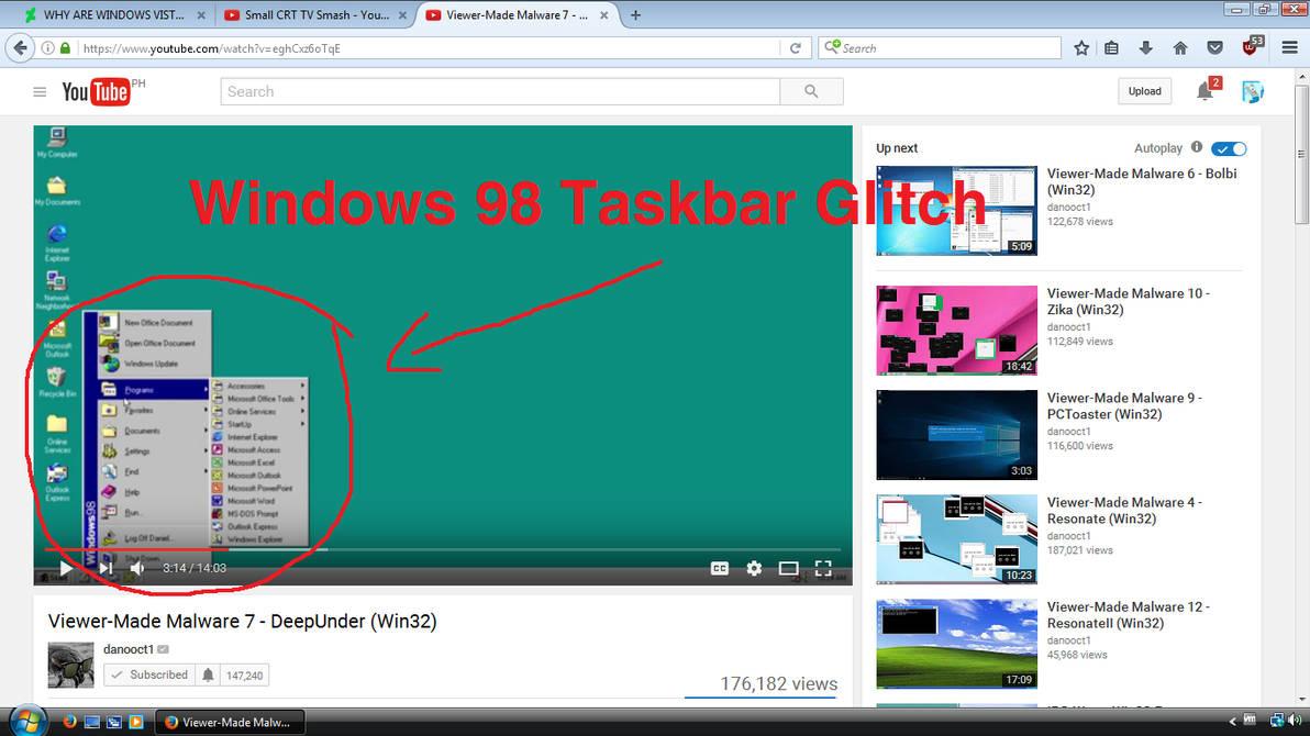 Windows 98 Taskbar Movement Glitch by AngelesRulesGru1997 on