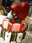 Metallic Heart Wedding Cake