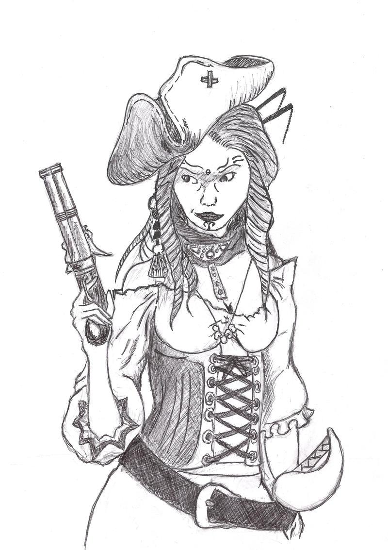 Female pirate drawing - photo#39