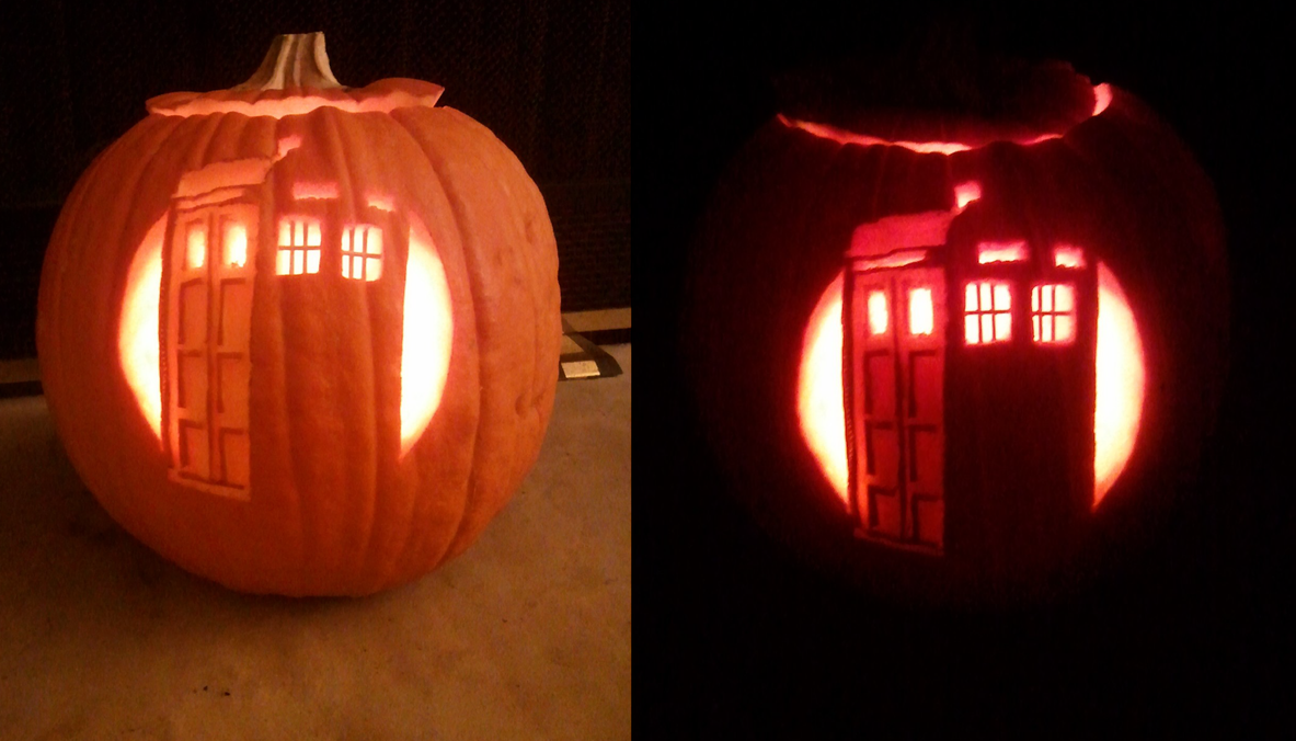 Tardis Pumpkin by doctor-ghost