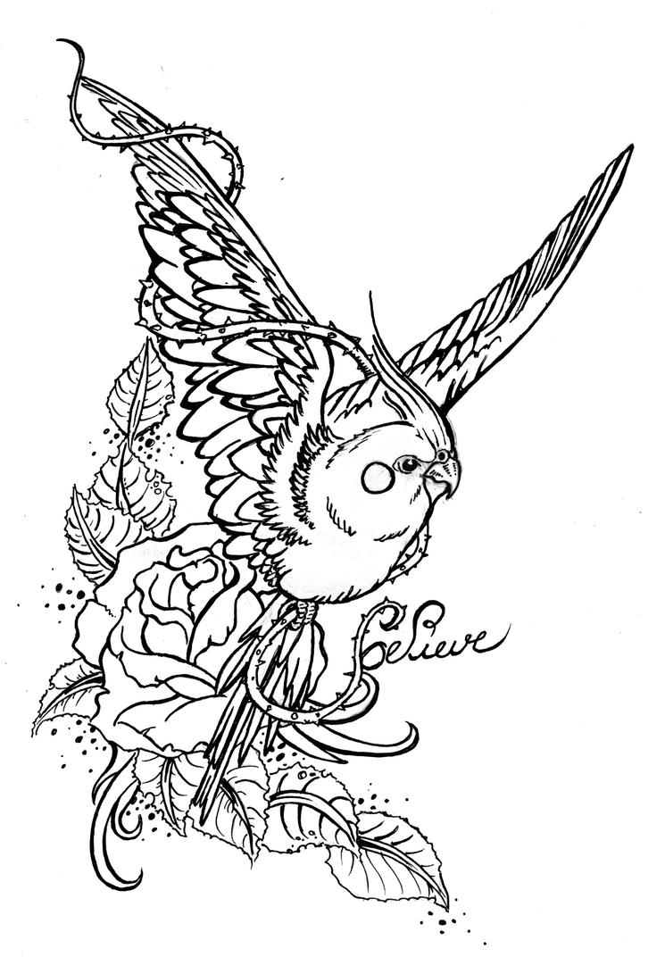 Parakeet tatoo draw by cawoohh21 on deviantart - Dessin perruche ...
