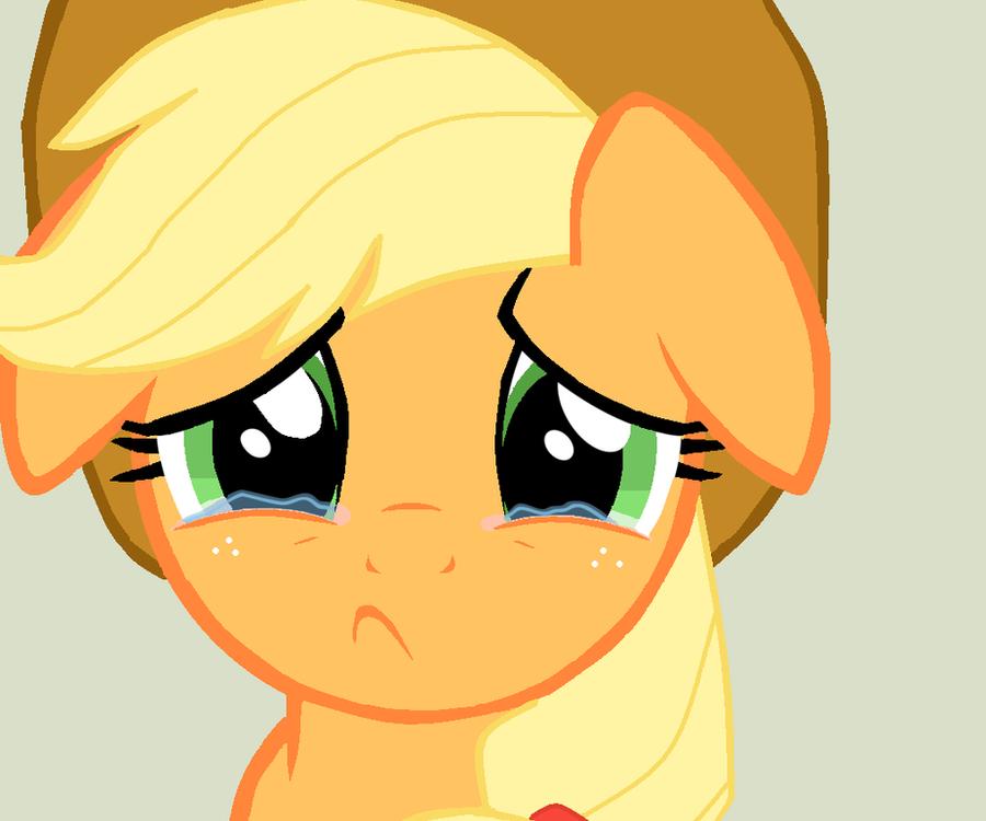 Sad Applejack by Elliums
