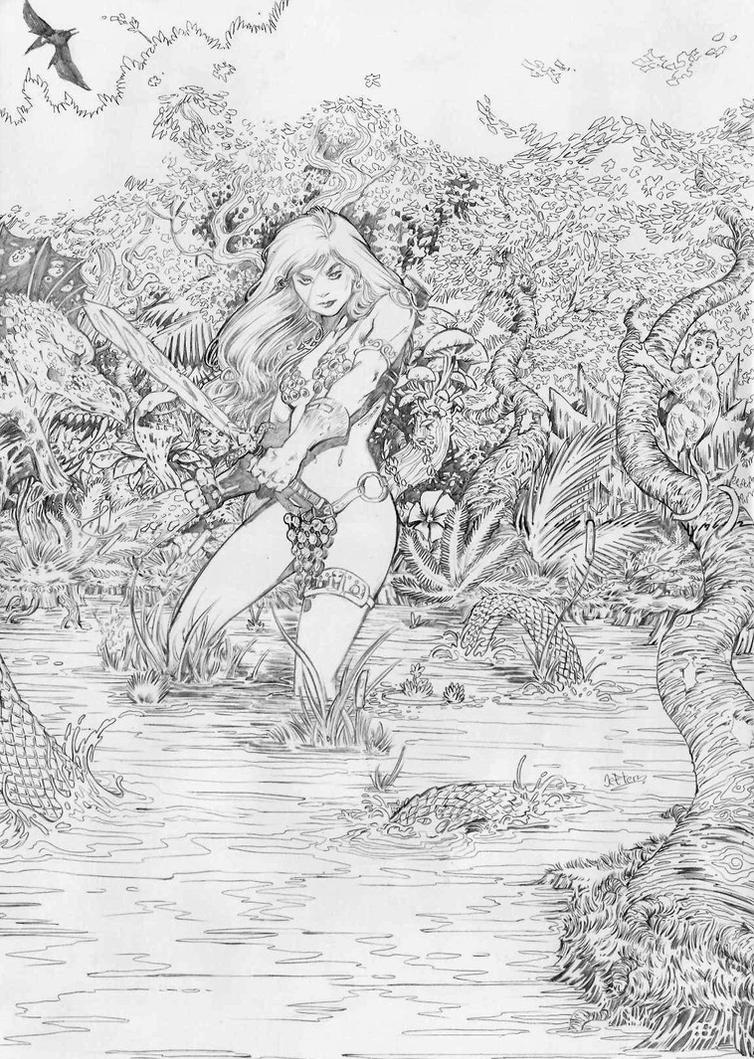 Red Sonja pencil by jefterleite