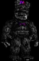 HW Nightmare Fredbear Greyscale version