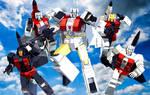Transformers G1 Aerialbots models group shot