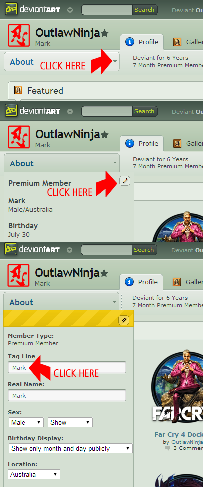 how to add names links to deviantart