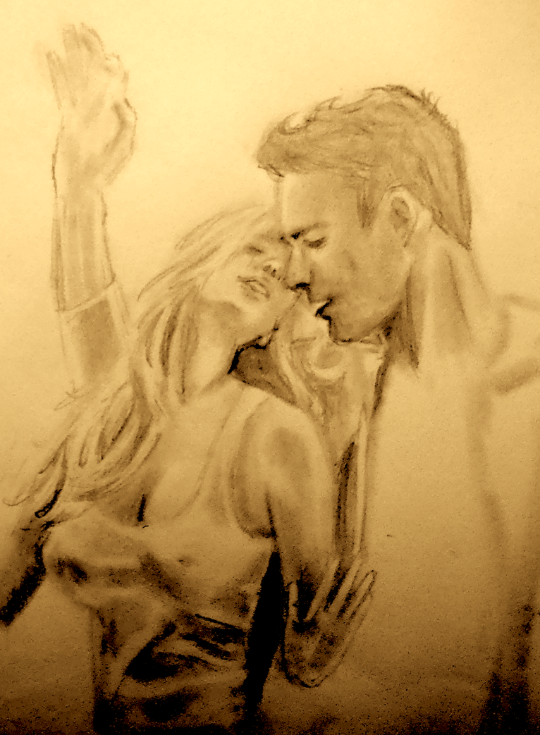 Couple kissing against window unfinished sketch by zadgirl