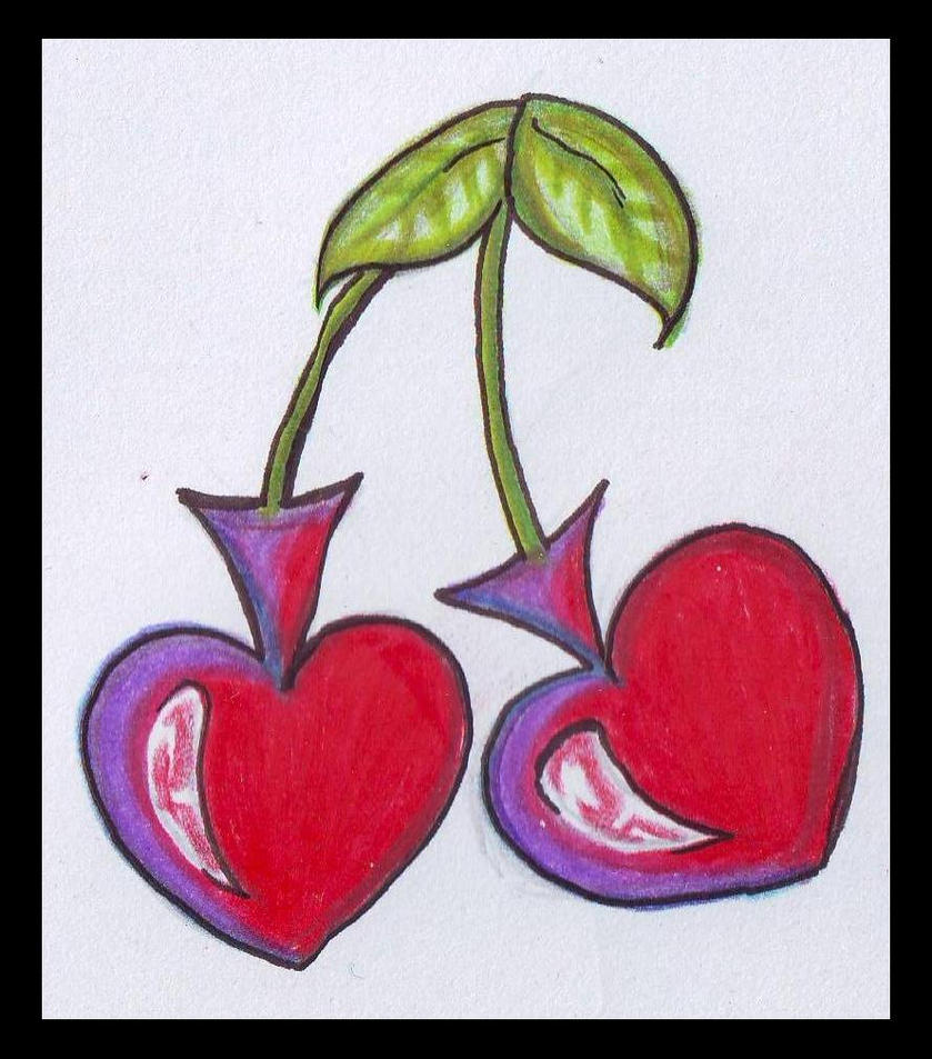 cherry hearts tattoo design by natradzi on deviantart. Black Bedroom Furniture Sets. Home Design Ideas