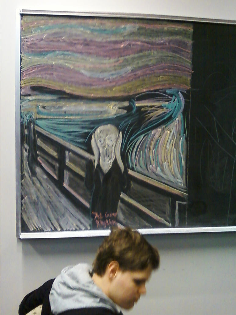 Scream chalk drawing-building 9 by regates