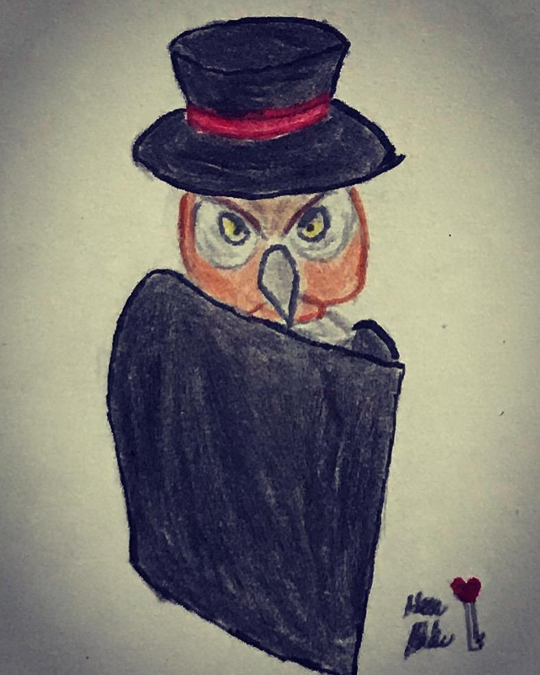 Drawlloween #15: Owl by poptropicangirlannie