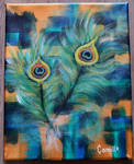 Peacock feathers (abstract acrylic)