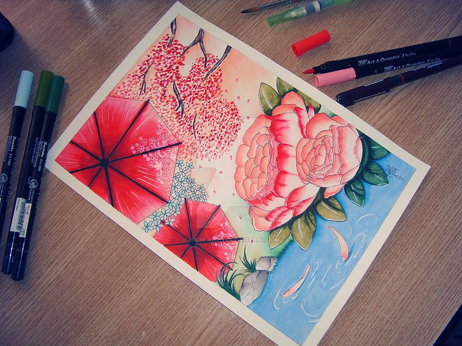 + Peonies and umbrellas + by Julia-Riley