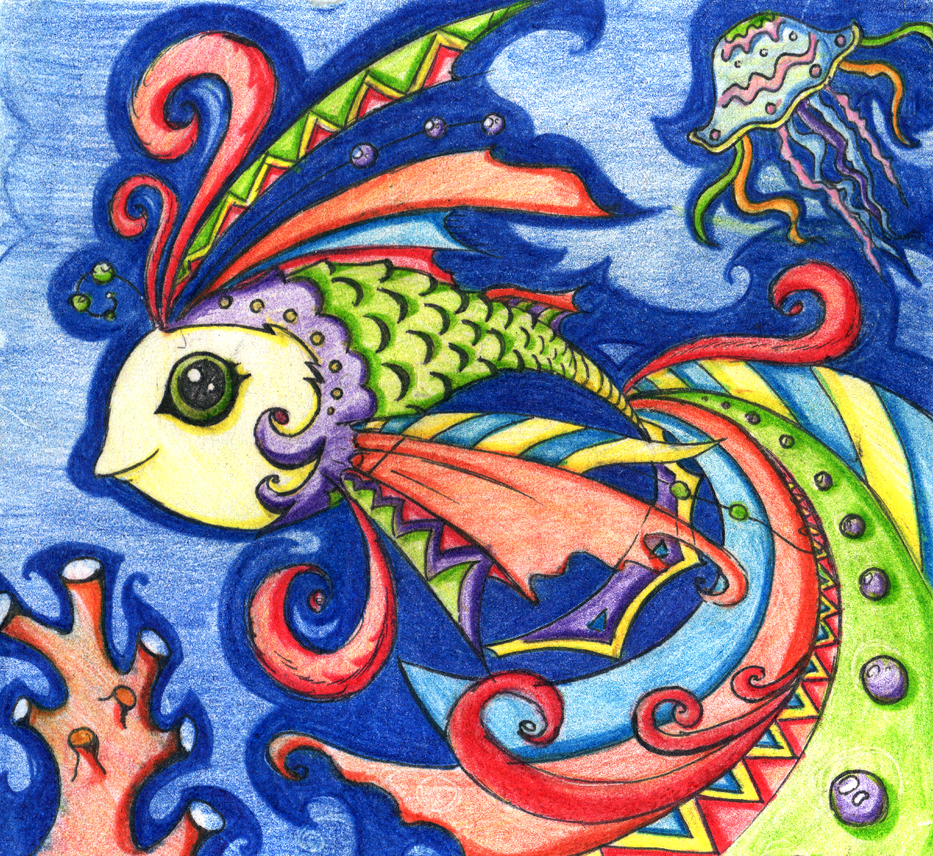 Magical fish working on batik by maramarko on deviantart for 95 9 the fish